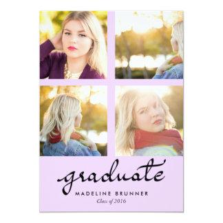 Violeta de la tipografía de las fotos del graduado invitación 12,7 x 17,8 cm
