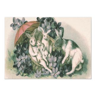 Violeta del paraguas de la familia del conejito de invitación 12,7 x 17,8 cm