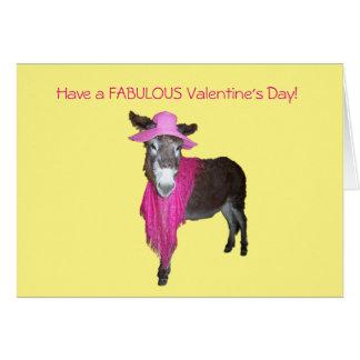 Violeta el burro vestido en rosa tarjeta de felicitación