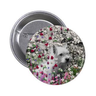 Violeta en flores - perro blanco de Westie Pins