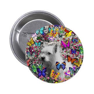 Violeta en mariposas - perro blanco de Westie Chapa Redonda 5 Cm