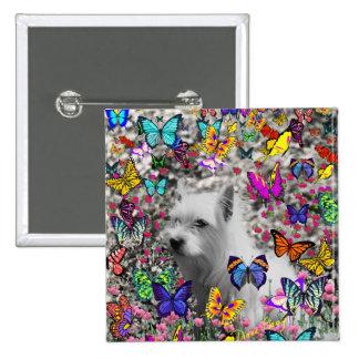Violeta en mariposas - perro blanco de Westie Chapa Cuadrada 5 Cm