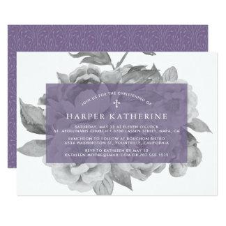 Violeta floral de la invitación el   del bautizo