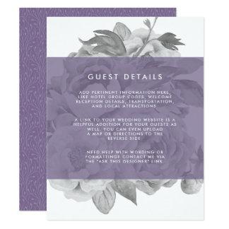 Violeta floral de la tarjeta de detalles de la invitación 10,8 x 13,9 cm