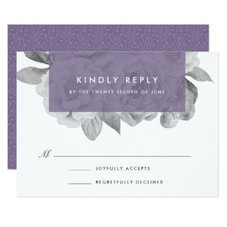 Violeta floral de la tarjeta el   de RSVP del Invitación 8,9 X 12,7 Cm