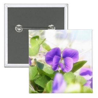Violeta preciosa de la primavera chapa cuadrada 5 cm
