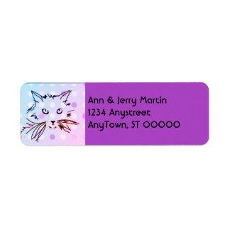 violeta púrpura de la etiqueta del remite de los