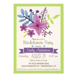 Violeta y fiesta floral de Bachelorette de la Invitación 12,7 X 17,8 Cm