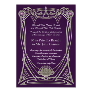 Violeta y oro de la invitación del boda