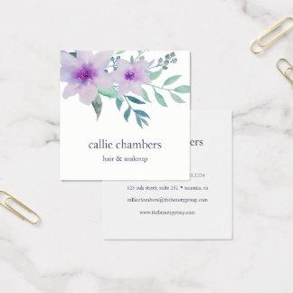 Violeta y sabio florales tarjeta de visita cuadrada