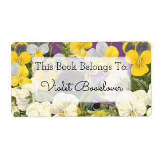 Violetas del Bookplate y etiqueta de encargo