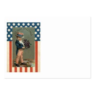 Violetas del muchacho del tío Sam de la bandera de Tarjetas De Visita Grandes