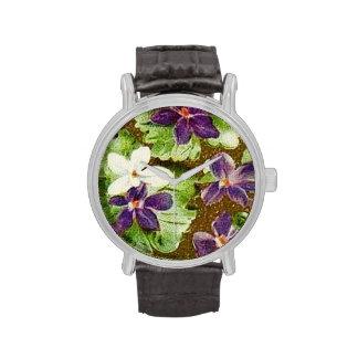 Violetas púrpuras verdes florales del vintage relojes