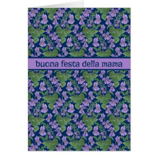 Violetas, tarjeta del día de madre, saludo italian