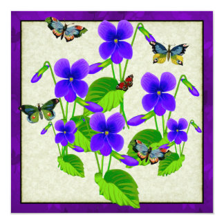 Violetas y mariposas invitación 13,3 cm x 13,3cm
