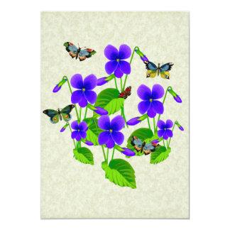 Violetas y mariposas invitación 12,7 x 17,8 cm