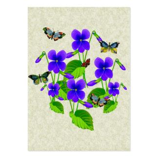 Violetas y mariposas tarjetas de visita grandes