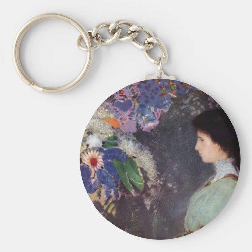 Violette Heymann - mujer con las flores Llaveros Personalizados
