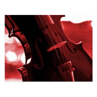 Violín en rojo y negro tarjeta postal