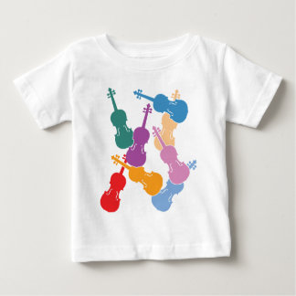 Violines coloridos camiseta de bebé