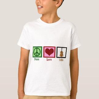 Violoncelo del amor de la paz camiseta