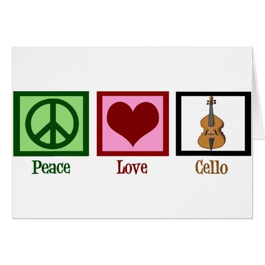 Violoncelo del amor de la paz tarjeta de felicitación