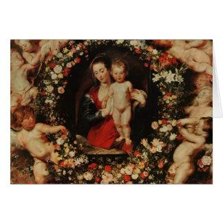 Virgen con una guirnalda de las flores, c.1618-20 tarjeta de felicitación
