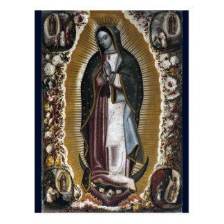Virgen de la pintura antigua de Guadalupe Postal