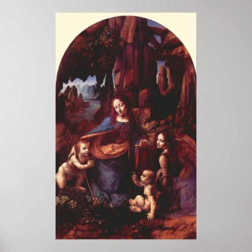 Virgen de las rocas de Leonardo da Vinci Posters
