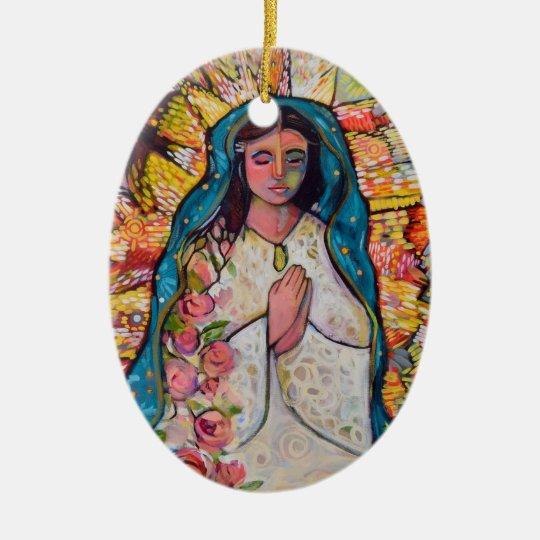 Virgen del ornamento del navidad de Guadalupe Adorno Navideño Ovalado De Cerámica