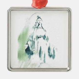 Virgen María bendecido Adorno Cuadrado Plateado
