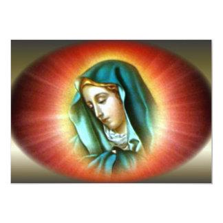 Virgen María bendecido con halo vivo Invitación 12,7 X 17,8 Cm