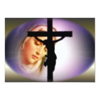 Virgen María bendecido en la sombra de la cruz Invitación 12,7 X 17,8 Cm