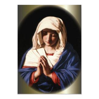 Virgen María bendecido en rezo Invitación 12,7 X 17,8 Cm