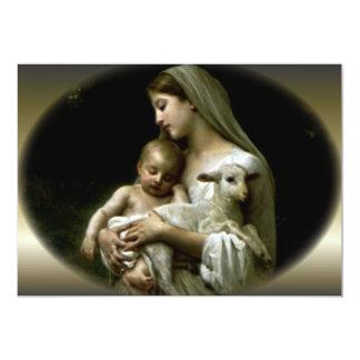 Virgen María bendecido que conforta a Jesús Invitación 12,7 X 17,8 Cm