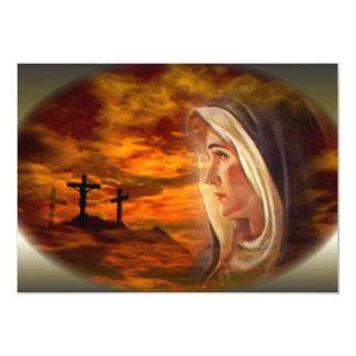 Virgen María bendecido y las tres cruces Invitación 12,7 X 17,8 Cm