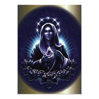 Virgen María bendecido y rosas púrpuras Invitación 12,7 X 17,8 Cm