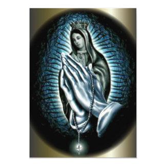 Virgen María de la reina - manos del rezo Invitación 12,7 X 17,8 Cm