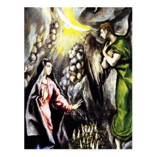 Virgen María del anuncio de El Greco Postal