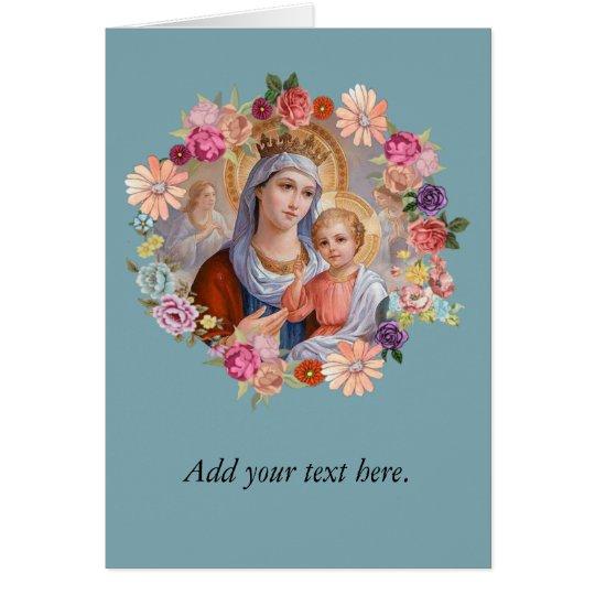 Virgen María del vintage con los rosas de los Tarjeta De Felicitación