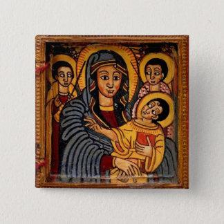 Virgen María el icono etíope de Theotokos Chapa Cuadrada