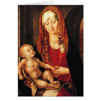 Virgen y niño antes de una arcada por el espacio tarjeta pequeña