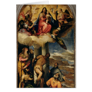 Virgen y niño con los músicos y los santos del áng tarjeta de felicitación