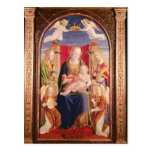 Virgen y niño con los músicos y los santos del áng tarjeta postal