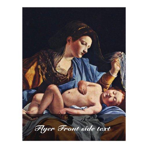 Virgen y niño de Gentileschi Orazio Tarjetón