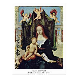 Virgen y niño de Hans Holbein la anciano Tarjetas Postales