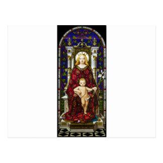 Virgen y niño del vitral postal