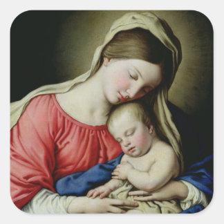 Virgen y niño colcomanias cuadradases