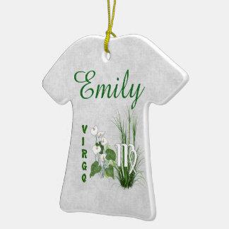 Virgo del bambú y del lirio adorno de cerámica en forma de camiseta