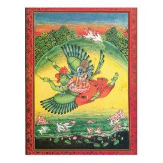 Vishnu azul en tarjeta hindú del arte de dios de